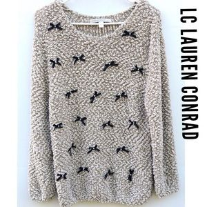 LC Lauren Conrad bow lurex Faux Pearl Sweater